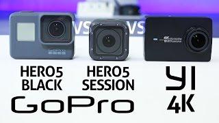 GoPro HERO 5 Black vs Session vs YI 4K - REVIEW