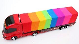 DIY Kinetic Sand Huge Truck Loader MackTruck Lighning McQueen Play Doh Gumballs Surprise