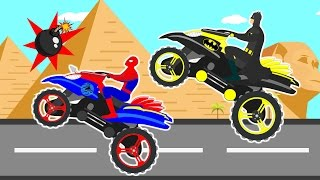 Motorbike Race Videos For Children By Spiderman Batman I Learn Colors Cartoon For Kids Nursery Song