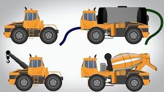 Transformer Water Tank Cement Mixer Tow Truck Video For Kids