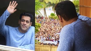 Salman Khan waves to crazy fans outside Galaxy Apts on Eid 2017 | Full Video