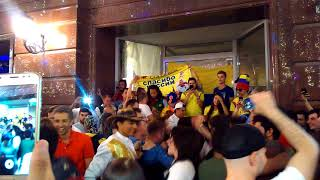 Colombia fans sing in Moscow July 13-14, 2018