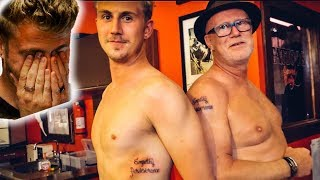 SURPRISING my dad with MATCHING TATTOOS and SKYDIVING!