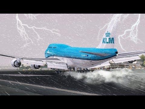 Crazy GO AROUND during a Hurricane New Flight Simulator 2017 P3D 4.0 Ultra Realism