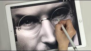 Painting Steve Jobs on iPad Pro with Apple Pencil(procreate)
