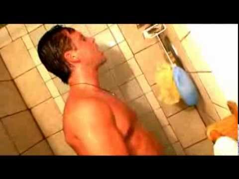 Tattooed big pec muscle hunk showers