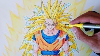Cómo dibujar a Goku SSJ3 paso a paso - How to draw Goku SSJ3