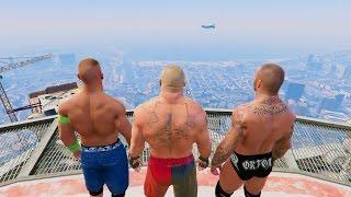 GTA 5 Randy Orton John Cena Brock Lesnar RKO Mod! #2(GTA V Brutal kill Funny moments)