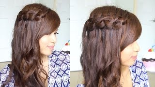 Knotted Loop Waterfall Braid Hairstyle for Short and Long Hair Tutorial