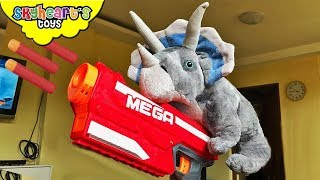 DINOSAUR PLUSHIE ATTACKS TODDLER | Triceratops Nerf War Dinosaur Toys for kids Skyheart