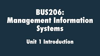 Management Information Systems: Unit 1 Introduction
