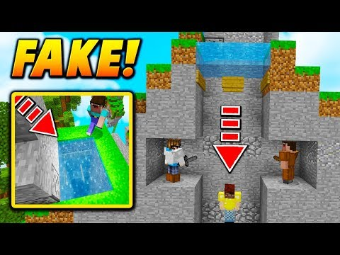 FAKE WATER PIT PLAYER TRAP! - Minecraft SKYWARS TROLLING (NO WAY!)