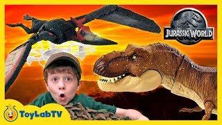 Jurassic World Fallen Kingdom Toys Indoraptor vs T-Rex Dinosaur, Pterano-Drone & Gyrosphere Blast