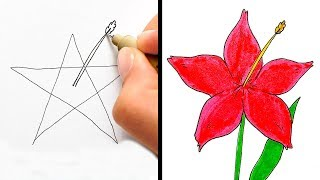 HOW TO DRAW LIKE A PRO || 12 COOL HACKS FOR BEGINNERS