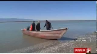 Iran Seawater backsliding in Caspian sea New Islands appear پسرفت آب دريا و پيدايش جزيره كوچك ايران