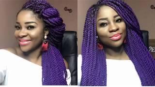 DIY Purple Yarn / Brazilian Wool Twist With AFRICAN CHEBE in MY HAIR❤️ 1st Attempt