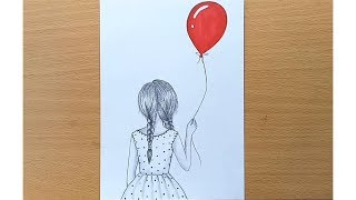 How to draw A Girl With Balloon step by step (very easy )