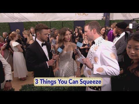 Justin Timberlake, Heidi Klum, and Allison Janney Visit Andy on Emmys Red Carpet