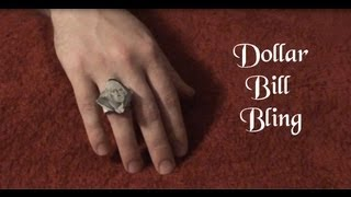 Easy Dollar Bill Diamond Ring - Money Origami Rings - Washington $1 Face Ring Tutorial