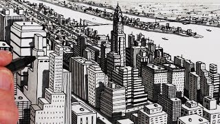 How to Draw City Buildings: New York City Shadows