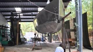 Turning the Hull of an Aluminum Dix 43 Pilot House Cutter Sailboat