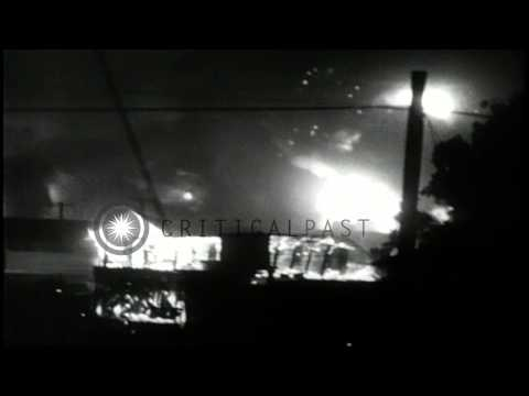 Vietcong rocket attack on the U.S. Da Nang Airbase in Vietnam HD Stock Footage