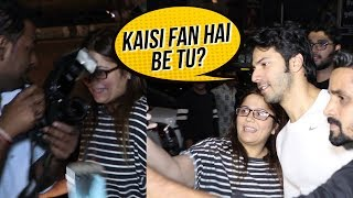 Varun Dhawan Fans Fights With Media For Varun | Varun Dhawan SPOTTED Outside GYM