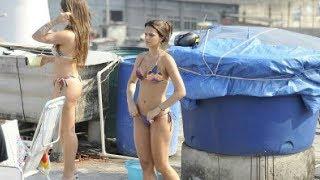 Bruna Marquenize gostosa tomando banho só de biquíni na laje