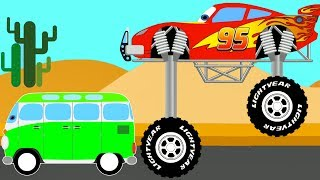 Color Lightning Mcqueen Monster Truck vs Bus - Cars Cartoon for Kids and Superheroes for babies