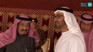 محمد بن زايد يحضر مأدبة غداء أقامها خادم الحرمين في حفر الباطن