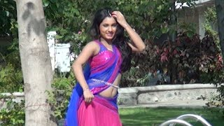 Indian Model in Pink Sari With Beautiful Dance