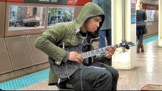 Ethereal Electric Guitar Busker - Chicago CTA State Street Subway Busking 12/29/2016