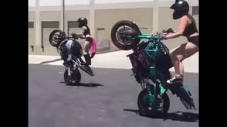 Bike stunts /sexy girls  doing bike stunds/biker girls on bikes