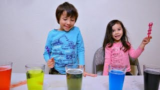Colored Water Bubbles Experiment and Colors for Kids
