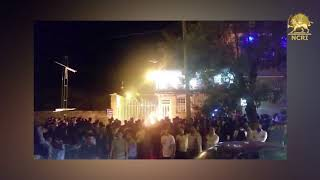 The angry people of Marivan demonstrate in front of the mayor's office