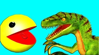 PACMAN vs RAPTORS  ♫  3D animated  DINOSAUR GAME Mashup ☺ FunVideoTV - Style ;-))
