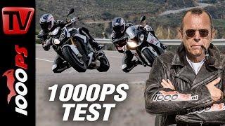 1000PS Test - BMW S 1000 R vs S 1000 RR 2017   Supersport vs Nakedbike auf der Landstrasse