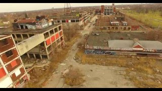 Packard Plant -  Detroit, Michigan  March 12 2016 Drone Video