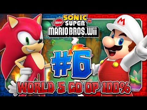 Sonic & Mario in New Super Mario Bros Wii Co Op 100 Part 6