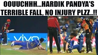 IPL 10: Hardik Pandya escapes injury during Mumbai vs Hyderabad | Oneindia News