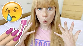 CUTTiNG MY LONG NAiLS OFF RiP!!! 😭 (first ever manicure!)
