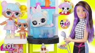 LOL Surprise Dolls + Lil Sisters Take New L.O.L. Pets Series 3 Wave 2 to Skipper Barbie Doll Vet