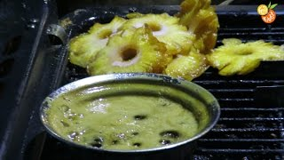 Hot caramelized pineapple ice cream - Street food India