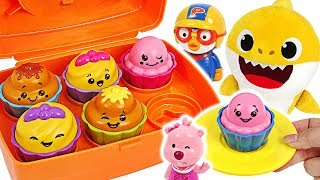 Let's make a cupcakes with Baby Shark, Baby doll~! Toomies Shake & Sort Cupcakes play #PinkyPopTOY