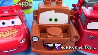 Mater n' Lightening McQueen Swim Racing! Bubble Bath + Rip Racers with Disney Cars Toys HobbyKidsTV