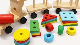 Learn Shapes & Colors for Children with Wooden Train Toy