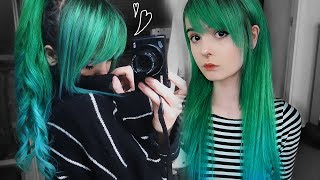 ♡ Dying my hair forest green with blue ombre ♡