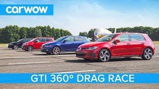VW Golf GTI v Polo GTI v Golf Clubsport S v Up! GTI - 360° DRAG & ROLLING RACE