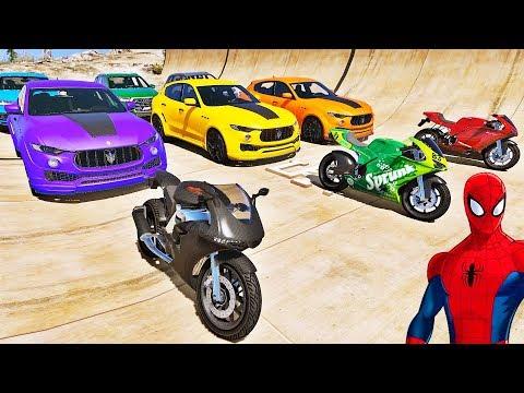 CARROS e MOTOS com HOMEM ARANHA e SUPER HERÓIS Desafio de Super Carros e MOTOS na Rampa IR GAMES