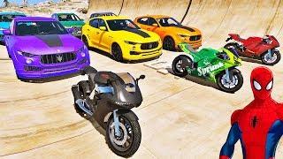 CARROS e MOTOS com HOMEM ARANHA e SUPER HERÓIS! Desafio de Super Carros e MOTOS na Rampa - IR GAMES